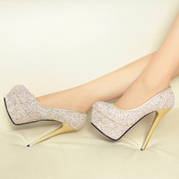 2015 New High Heeled Shoes 14cm High Waterproof Single Shoes Nightclub Sequined Thin With Fashion Shoes