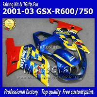 7gifts blue Movistar bodywork fairings for SUZUKI GSXR 600 K1 2001 2002 2003 GSXR 750 01 02 03  fairing set dd45