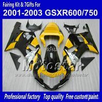 Body work fairings for SUZUKI GSXR 600 K1 2001 2002 2003 GSXR 750 01 02 03  glossy black yellow fairing set QQ67