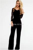 LJ008,Free shipping new summer slacks temperament women's backless hook flower hollow out long sleeve jumpsuit