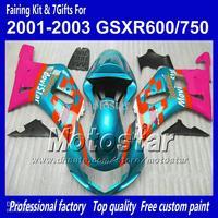 Body work fairings for SUZUKI GSXR 600 K1 2001 2002 2003 GSXR 750 01 02 03  blue red Movistar fairing set QQ60