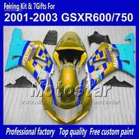 Body work fairings for SUZUKI GSXR 600 K1 2001 2002 2003 GSXR 750 01 02 03  glod blue Movistar fairing set QQ64