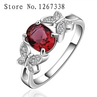 R648-A red butterfly girl ring Silver plated new design finger ring for lady 925 sterling silver ring rhinestone free shipping