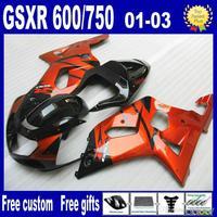 Gold-orange Black fairing kit for SUZUKI GSXR 600 K1 GSXR 750 01 02 03  2001 2002 2003 fairings