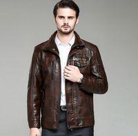 2015 free shipping PU  Leather Jacket Men  winter New Men's leather Jacket +Locomotive style Men's Slim Fit Leather Clothing