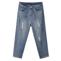 New Spring/Summer 2015 Women Beading nine  Denim Pants, Fashion women's ripped jeans Big size  32 34 36 38 40 42