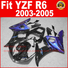 Custom ABS Motorcycle body fairings kit for YAMAHA 2003 YZFR6 2004 2005 YZF R6 03 04 05 YZFR600 black blue fairing bodywork part