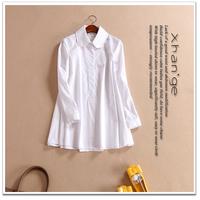 Free shipping! 2015 spring cutout crotch patchwork turn-down collar long-sleeve loose cloak shirt c245152
