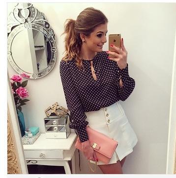 Женские блузки и Рубашки Brand New Fahion SleeveEurope AliExpress vestido RU5 Black Polka Dot S M L XL женские блузки и рубашки brand new s m l xl