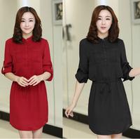 2015 new plus size clothing spring dress plus size loose chiffon drawstring long-sleeve casual dress