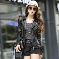 2015 new Plus size clothing plus size spring ultralarge PU motorcycle leather clothing fashion jacket outerwear