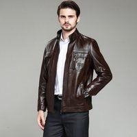 2015 free shipping Leather Jacket Men  winter New Men's leather Jacket +Locomotive style Men's Slim Fit Leather Clothing