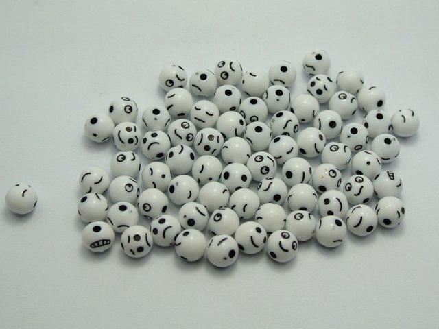 250pcs Mixed Expression Acrylic circular Beads 6mm white bead + black expression(China (Mainland))