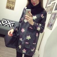 A small 2015 autumn and winter medium-long basic one-piece dress spring and autumn long-sleeve woolen one-piece dress