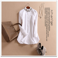 Free shipping! women's blouse 2015 spring luxury decoration diamonds medium-long long-sleeve shirt top b234776