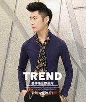 British style trend of casual men's long-sleeved shirt Slim Korean men scarf collar shirt spring new men shirt