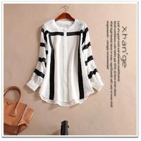 Free shipping! New arrive 2015 spring color block stripe o-neck lantern sleeve loose silk shirt d245209