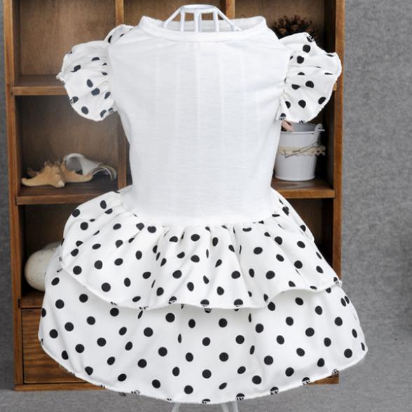 Новый собака горошек пачка платье слоеного lotus рукав ПЭТ принцесса одежды белый