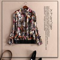 Free shipping! European 2015 spring turtleneck long-sleeve print silk shirt top d254355, women's silk blouse