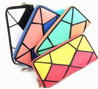 2014 fashion women's wallet PU leather candy color zipper purse ladies handbags women clutch