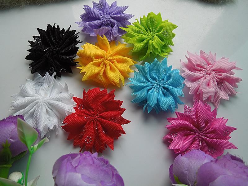 50pcs / 55MM blending leaf shape ribbon flower DIY sewing / decals(China (Mainland))