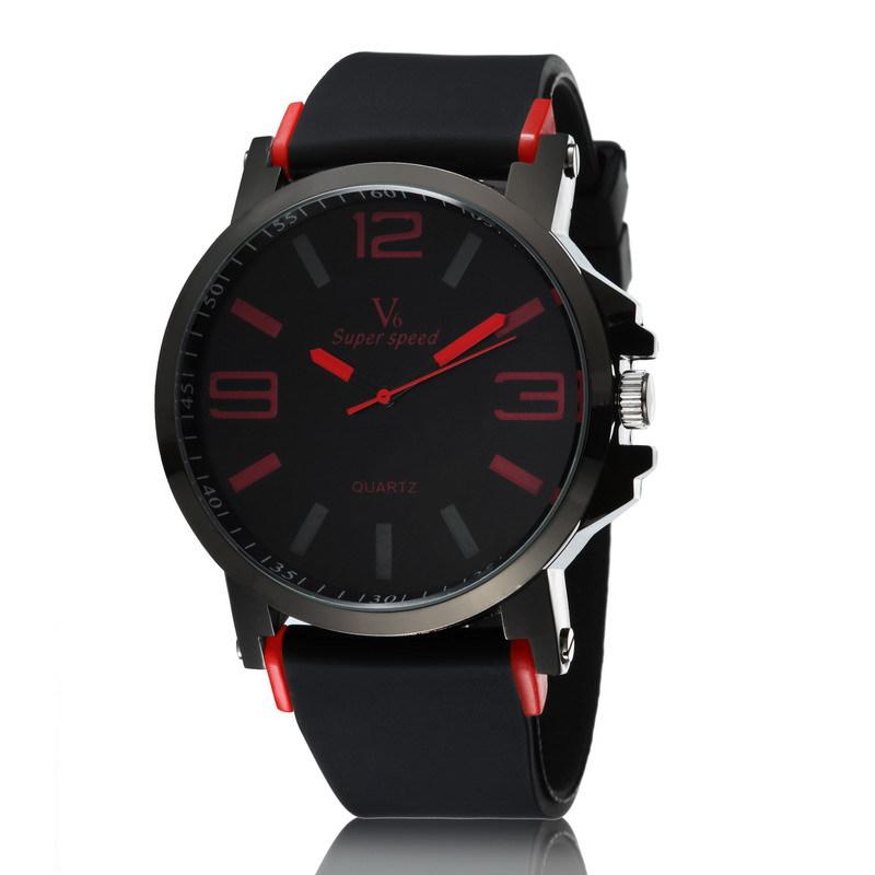 V6 марка большой циферблат мужчины часы военный часы кварцевый спорт наручные часы подарок