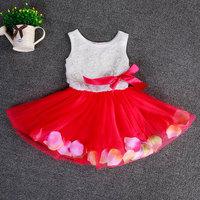2015 New Kids Children girls Dress Princess dress Floral Bottom Girl Rose Petal Hem Tutu Dress Gilr's Dress