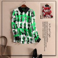 Free shipping! women's cartoon silk blouse 2015 spring color block turn-down collar long-sleeve slim silk shirt top d254393