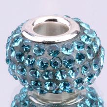 Z077 925 sterling silver DIY thread CZ Crystal Beads Charms fit Europe pandora Bracelets necklaces epmangta
