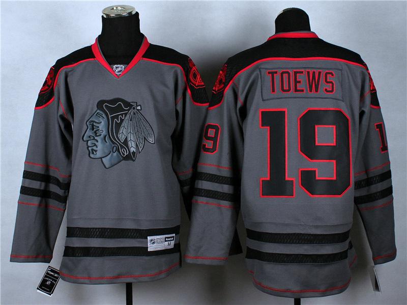 Winner-Chicago Blackhawks Cross Check Premier Fashion Jersey - Charcoal Mens Jerseys #19 Jonathan Toews Gray Ice Hockey Jersey M(China (Mainland))