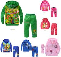 Retail 2015 boys cartoon character long sleeve clothing sets kids Teenage mutant ninja turtles 3 design hooded clothing suits