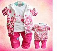 Retail 2015 Autumn Spring Flower Rose Baby Girl Clothes Sets Coat + T shirt + Pants 3Pcs Cotton Toddler Baby Girls Clothing