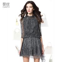 Wire 2015 spring medium-long mulberry silk dress freeshipping black  sleeve loose irregular sweep chiffon one-piece dress female