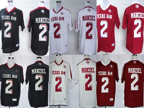 Cheap Johnny Manziel Jersey #2 NCAA Football Jerseys Texas A&M Aggies Red White Black college jerseys(China (Mainland))