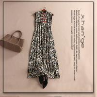 Free shipping! new arrive 2015 spring animal stand collar sleeveless slim silk jumpsuit full dress c254141