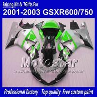 Body work fairings for SUZUKI GSXR 600 K1 2001 2002 2003 GSXR 750 01 02 03  glossy silver black green ABS fairing QQ87