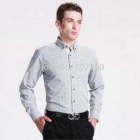 2015 New Button down collar Plaid Men shirt Long sleeve male casual shirt man Business dress shirts camisa social masculina