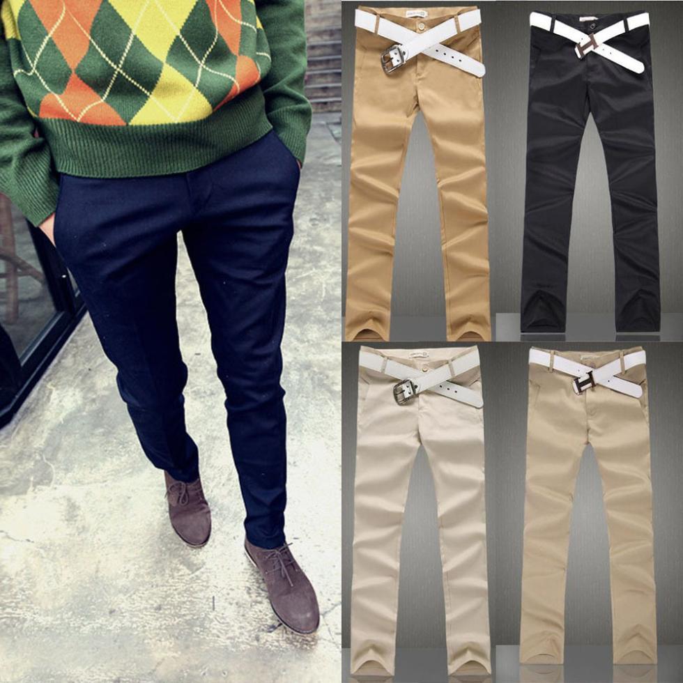Cute Men's Slim Fit Casual Formal Dress Pencil Pants Mens Slacks Smooth Trousers(China (Mainland))