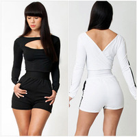 LJ005,Free shipping long-sleeves with round collar backpack sexy nightclub large size ladies short jumpsuit