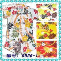 Hainan island service hainan shirt child 100% cotton short-sleeve set white safflower 5526
