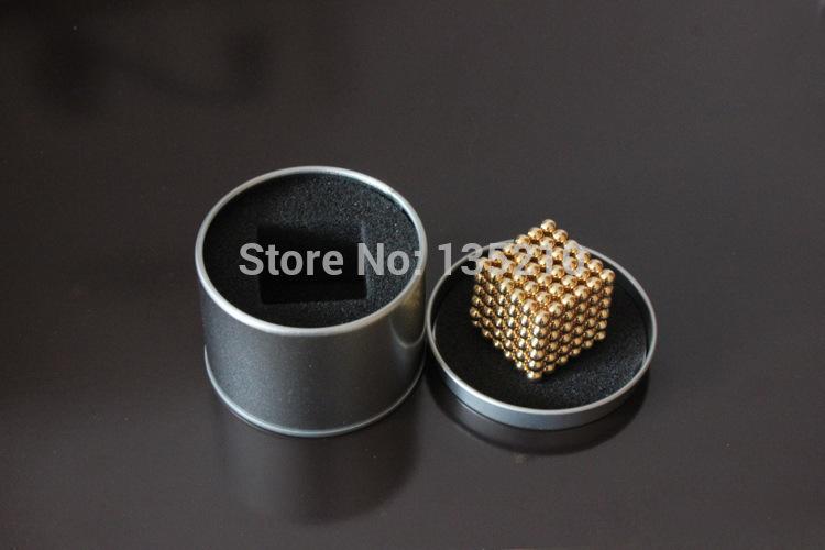 216 pcs 5mm Buckyballs Magnetic Balls Neo Magic Cube Puzzle Neocube Intelligence Toy NEODYMIUM Spacer Beads Golden Education Toy(China (Mainland))
