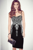 2015 Vestidos Femininos Floral Lace Applique Black Sheath Evening Party Dress Summer Casual Elegant Bodycon Slip Midi Dress 6979