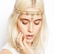 2015 new Wholesale fashion handmade bohemian alloy flower chains elastic headband hairbands headband  hairband hair accessories
