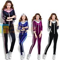 Womens Sport Set 2015 Velvet Sport Suit For Woman Sweatpants Hoodies Hoody Sweatshirt Fashion Tracksuits Plus Size
