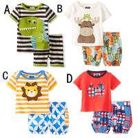 Kids summer clothing set baby Boy's clothing suit set children's clothing dinosaur/cow/tigger/crab design t shirts+casual shorts