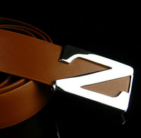2015 Personality strap cowhide current male paragraph of casual leather waist belt White/Black belts for men smooth fashion belt