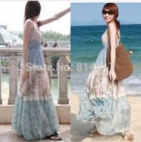 Full dress spaghetti strap tube top chiffon floral print dress bohemia expansion bottom beach dress online cheap on sale