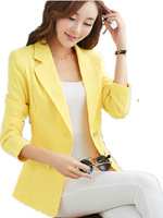 Free Shipping 2015 Spring female  blazer long-sleeve, Girls Long sleeve Big size One Button women tuxedo BLACK/rose/yellow/blue