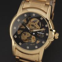Original Winner Brand Luxury Men Vintage Skeleton Automatic Self-Wind Mechanical  Full Steel Analog Wristwatch Relogio 2 Colors