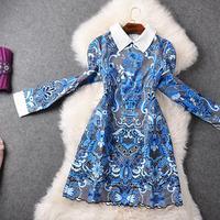 Women dress Autumn 2015 new European and American temperament printing embroidery waist big swing dress Slim Lady retro dresses